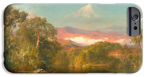 Hudson River iPhone Cases - Chimborazo iPhone Case by Frederic Edwin Church