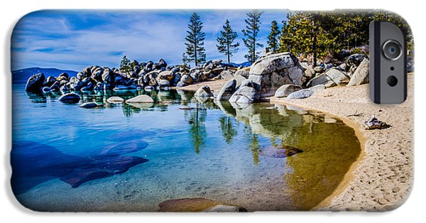 Sierras iPhone Cases - Chimney Beach Lake Tahoe Shoreline iPhone Case by Scott McGuire