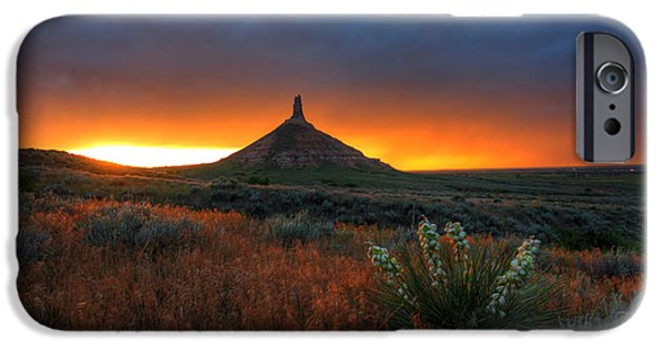 Nebraska iPhone Cases - Chimney Rock Sunset iPhone Case by Chris  Allington
