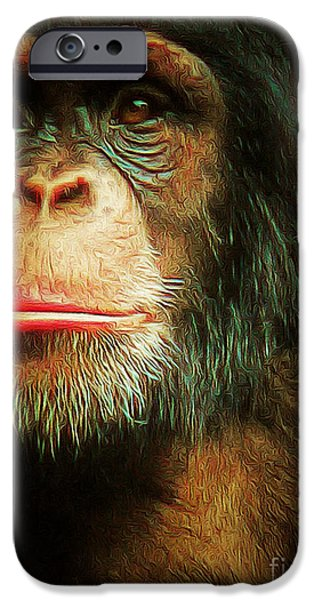 Ape Digital Art iPhone Cases - Chimp 20150210brun v3 iPhone Case by Wingsdomain Art and Photography