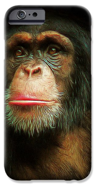 Ape Digital Art iPhone Cases - Chimp 20150210brun iPhone Case by Wingsdomain Art and Photography