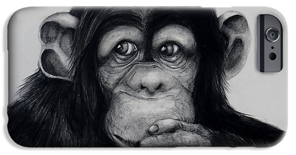 Contemplative Drawings iPhone Cases - Chimp iPhone Case by Jean Cormier