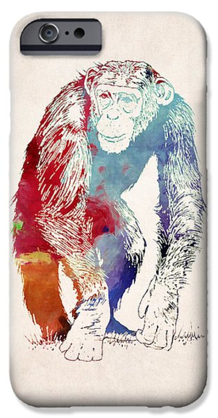 Ape Digital Art iPhone Cases - Chimpanzee Drawing - Design iPhone Case by World Art Prints And Designs