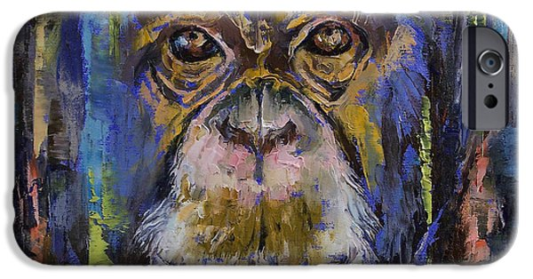 Michael iPhone Cases - Chimpanzee iPhone Case by Michael Creese