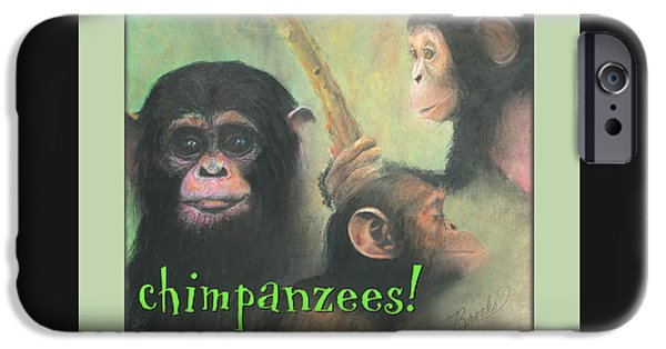 For Children Pastels iPhone Cases - Chimpanzees iPhone Case by Brooks Garten Hauschild