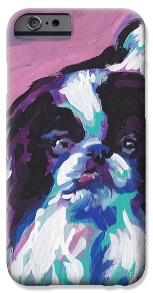 Japanese Chin iPhone Cases - Chin Up iPhone Case by Lea