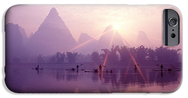 Pastel iPhone Cases - China, Guilin, Fishermen iPhone Case by Panoramic Images