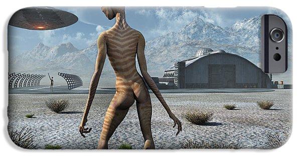 Strange iPhone Cases - China Lake Military Base Where Aliens iPhone Case by Mark Stevenson
