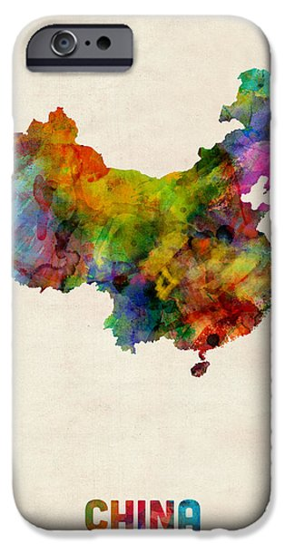 Maps - iPhone Cases - China Watercolor Map iPhone Case by Michael Tompsett