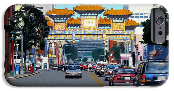 Smithsonian Paintings iPhone Cases - Chinatown iPhone Case by David Zimmerman