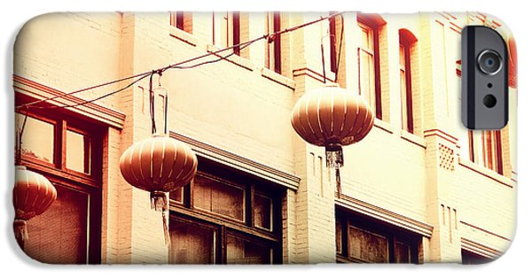 San Francisco Cali iPhone Cases - Chinatown Lanterns II iPhone Case by Chris Andruskiewicz