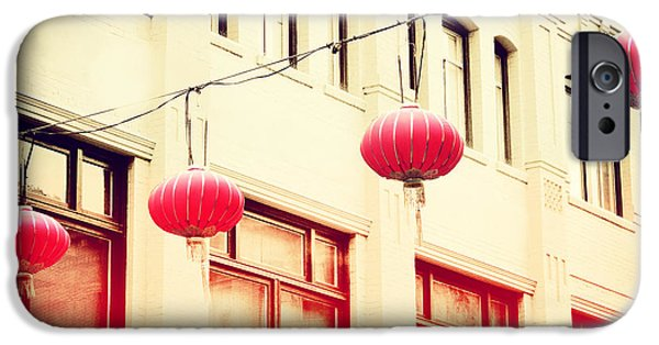 San Francisco Cali iPhone Cases - Chinatown Lanterns III iPhone Case by Chris Andruskiewicz