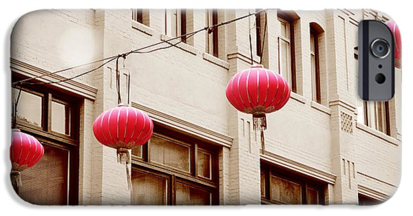 San Francisco Cali iPhone Cases - Chinatown Lanterns IIII iPhone Case by Chris Andruskiewicz