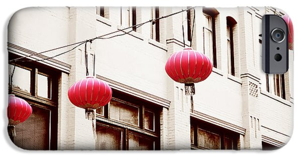 San Francisco Cali iPhone Cases - Chinatown Lanterns V iPhone Case by Chris Andruskiewicz