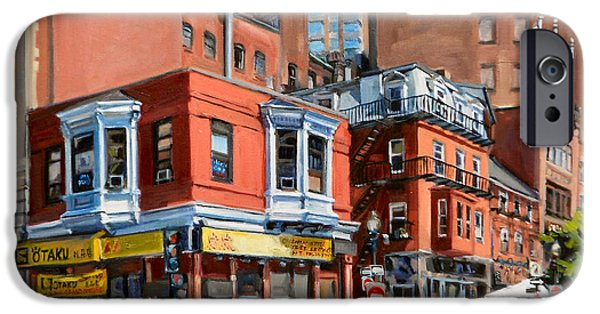 City. Boston Paintings iPhone Cases - Chinatown View iPhone Case by Deb Putnam