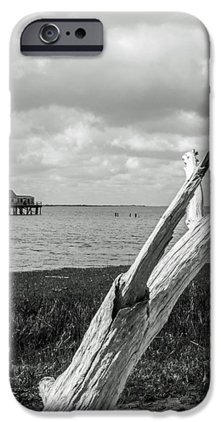 House Md Art iPhone Cases - Chincoteague Oystershack BW Vertical iPhone Case by Photographic Arts And Design Studio