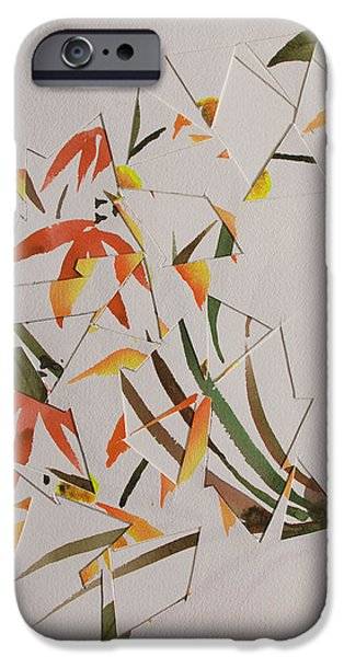 Asymmetrical Paintings iPhone Cases - Chinese Brush Painting Mash Up iPhone Case by Heidi E  Nelson
