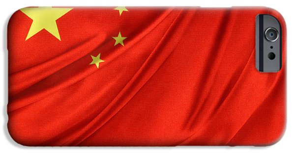 Patriotism iPhone Cases - Chinese flag iPhone Case by Les Cunliffe