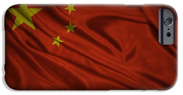 Waving Flag Mixed Media iPhone Cases - Chinese flag waving on canvas iPhone Case by Eti Reid