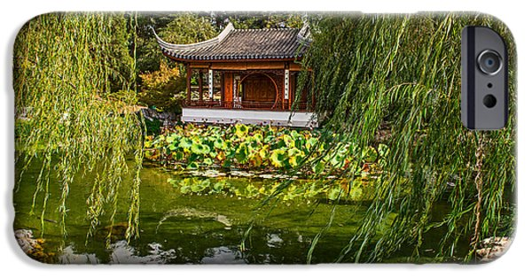Willow Lake iPhone Cases - Chinese Garden Breeze iPhone Case by Jamie Pham