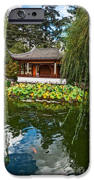 Willow Lake iPhone Cases - Chinese Garden Dream iPhone Case by Jamie Pham