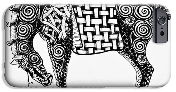Freimann iPhone Cases - Chinese Horse - Zentangle iPhone Case by Jani Freimann