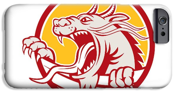 Growling iPhone Cases - Chinese Red Dragon Head Growling Circle Retro iPhone Case by Aloysius Patrimonio