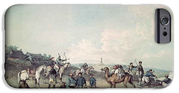 Camel Photographs iPhone Cases - Chinese Soldiers Exercising Outside The Walls Of A City iPhone Case by William Alexander