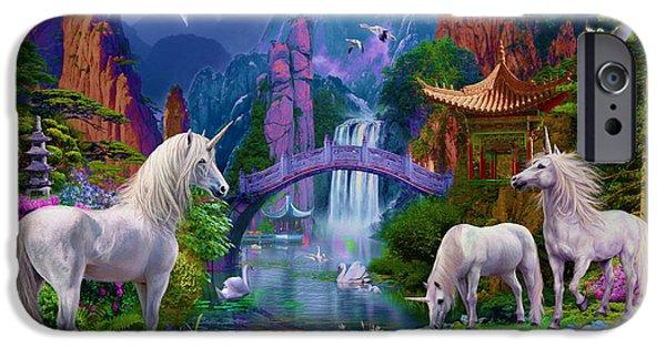 Buddhism iPhone Cases - Chinese Unicorns iPhone Case by Jan Patrik Krasny