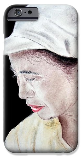 Beauty Mark iPhone Cases - Chinese Woman with a Facial Mole iPhone Case by Jim Fitzpatrick