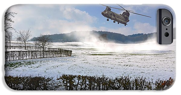 Limburg iPhone Cases - Chinook in snow dust iPhone Case by Nop Briex