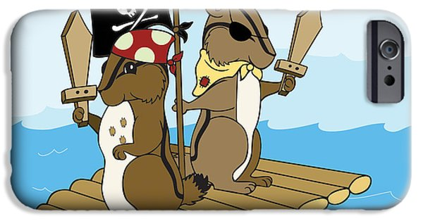 Chipmunk iPhone Cases - Chipmunk Pirate Dash and Scoot iPhone Case by Christy Beckwith