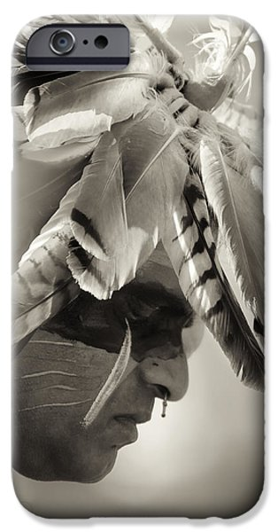 Native American Spirit Portrait iPhone Cases - Chippewa Indian dancer iPhone Case by Dick Wood