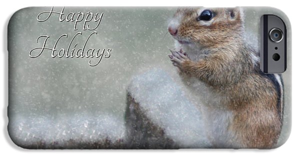 Christmas Greeting Digital iPhone Cases - Chippy Christmas Card iPhone Case by Lori Deiter