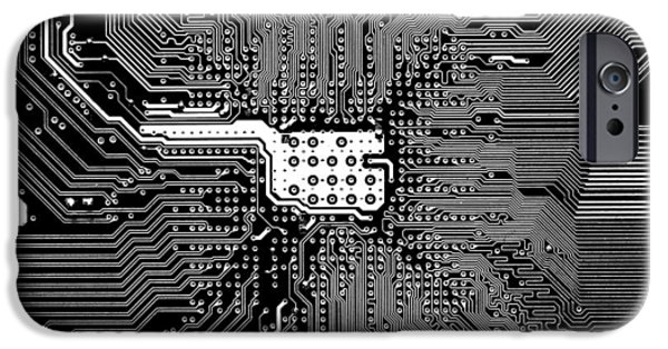 Mainboard iPhone Cases - Chipset Black and White iPhone Case by Alex Hiemstra