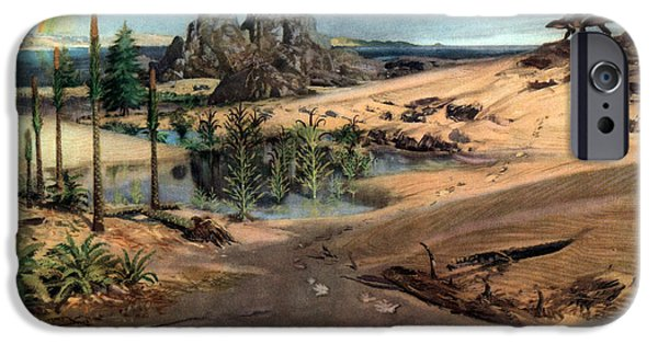 Triassic iPhone Cases - Chirotherium In Lower Triassic Landscape iPhone Case by Science Source
