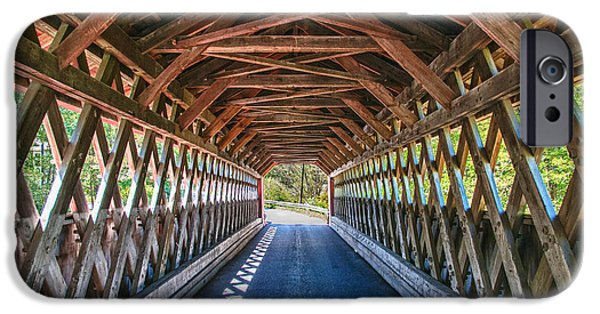 Recently Sold -  - Covered Bridge iPhone Cases - Chiselville Bridge iPhone Case by Guy Whiteley
