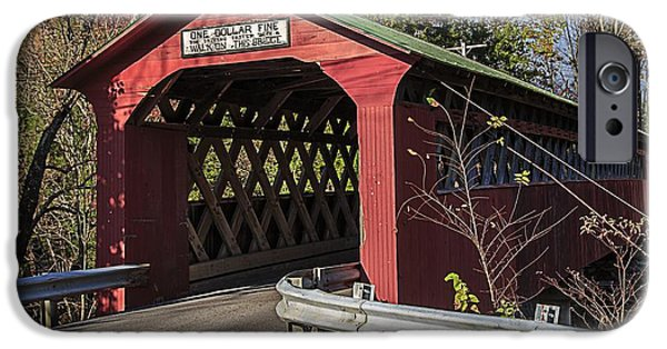 Covered Bridge iPhone Cases - Chiselville Covered Bridge iPhone Case by Edward Fielding