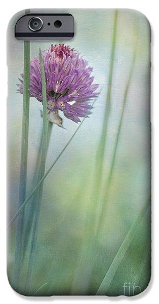 Green Roses iPhone Cases - Chive garden iPhone Case by Priska Wettstein