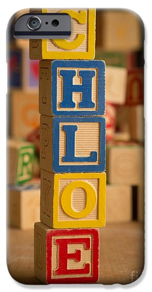 Young Photographs iPhone Cases - CHLOE - Alphabet Blocks iPhone Case by Edward Fielding
