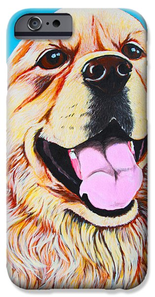 Dog Close-up Paintings iPhone Cases - Chloe iPhone Case by Lina Tricocci