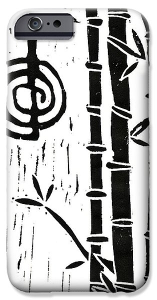Lino Cut iPhone Cases - Cho Ku Rei and Bamboo iPhone Case by Lynn-Marie Gildersleeve