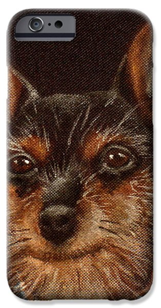 Dog Close-up Drawings iPhone Cases - Chobe iPhone Case by Carol Russell