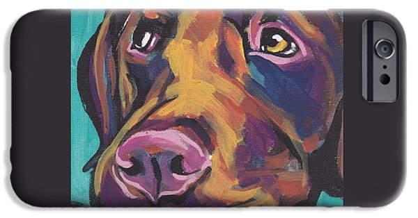 Labrador Puppy iPhone Cases - Choco Lab Love iPhone Case by Lea
