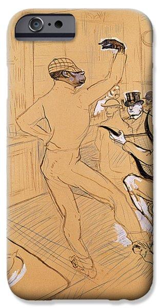 Waiter Photographs iPhone Cases - Chocolat Dancing, 1896 Pen & Ink And Coloured Pencil On Paper iPhone Case by Henri de Toulouse-Lautrec