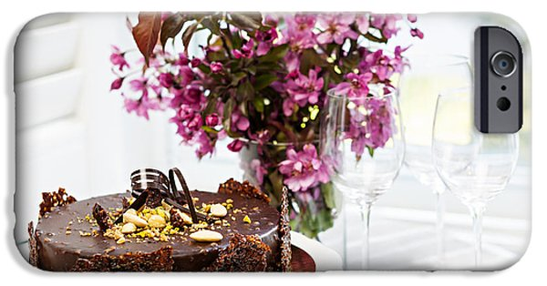 Spoon iPhone Cases - Chocolate cake with flowers iPhone Case by Elena Elisseeva