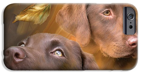 Canine Mixed Media iPhone Cases - Chocolate Lab iPhone Case by Carol Cavalaris