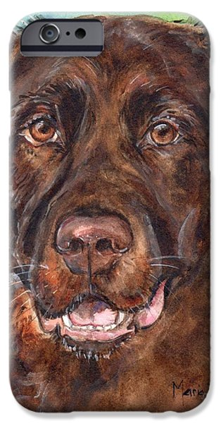 Chocolate Lab iPhone Cases - Chocolate Lab iPhone Case by Maria