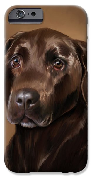 Chocolate Lab Digital Art iPhone Cases - Chocolate Lab iPhone Case by Michael Spano