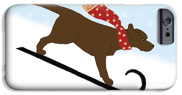 Chocolate Lab Digital Art iPhone Cases - Chocolate Labrador Snowboarding Dog iPhone Case by Amy Reges